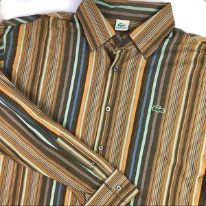 Lacoste button down long sleeve striped shirt SzXL